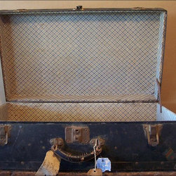 Vintage Metal Trunk  Flea Finds - A Fabulous Old, Vintage Trunk or Footlocker in a Great Color: Blue/Black.  Lots of Character in This Paper Lined Trunk with Intact Leather Handle - No Key.  Clean and No Musty!