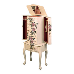 Adarn Inc - Classic Romantic Hand Painted Floral Off White Finish Jewelry Armoire w/ Drawers - Relive a simpler era with the hand painted details and classic styling of this exquisite jewelry armoire. A simple off white finish coats the armoire, creating a beautiful blank canvas for your choice of hand painted finishes. A gorgeous mural of romantic pink roses graces the armoire's front and are continued on the top and sides. A rosy pink lined interior echoes the subtle elegance of the hand painted details and provides a cushioned base for safely storing your jewelry collection. Two side doors swing out for convenient necklace storage, with hooks to organize them at eye level for easy use. A lid with mirrored inside lifts up to reveal additional compartments for earrings, rings and bracelets.