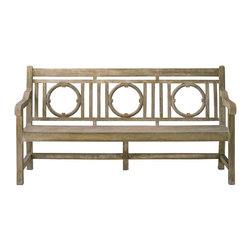 Currey & Company - Leagrave Large Bench - A classic English garden bench surprises all with its smoothly finished concrete construction. Its generous size adds to its presence.