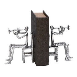 """BZBZ35294 - Library Aluminum Musician Bookend Pair - Library Aluminum Musician Bookend Pair 7""""H, 5""""W. Some assembly may be required."""