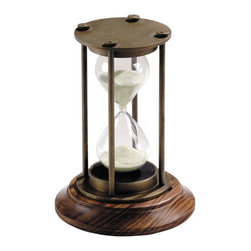 "Authentic Models - Bronzed 30 Minute Timer - Want to exercise for a half hour exactly or need to take out a cake of the oven on time? Use this Authentic Model home decor hourglass and it will surely serve the purpose just right! This 30 minute hourglass is a true collectors model that can be displayed as your desk accessory or table centerpiece in your home or office. Originally made and used in the 18th Century to measure the speed in ships or just as a minute reminder. Made of brass, glass, wood and sand. Colors are bronze and brown. Dimensions: 3.25"" Height x 5.25"" Length"