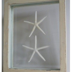 Double Framed Starfish - You'll always be able to make a wish when you see these beautiful starfish. Framed in a distressed-white, hand-painted frame, they'll be beautiful in a lightened summer decor.