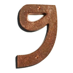 """Mission Metalworks - Prairie Solid Copper House Numbers, 9 - Our Arts and Crafts Prairie copper house numbers are sand cast from solid copper at a Kansas City foundry that has been in operation since the 1920's with eco friendly minimum 95% recycled materials. Oil rubbed to help preserve the finish until the natural patina process begins. Numbers are individually hand finished and inspected to guarantee quality. Copper numbers have a tumbled, or burnished, living finish with a desirable naturally distressed surface. A """"living finish"""" has no protective coating. It is designed to change with time and climate. Over time living finishes will vary in color and tone adding to their unique character. Dimensions: approximately 5"""" tall and 1/4"""" deep. Matching slotted silicon bronze screws are included for mounting."""