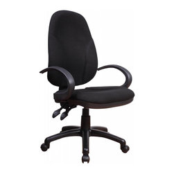 Chintaly Imports - Black Fabric Back & Seat, Adjustable Office Chair - Pneumatic gas lift adjustable height office chair, Comfortable padded high back design for your rest, Upholstered seat cushion and back, 100% Polypropylene, CA fire retardant foam, Ideal piece for both office and home office use