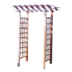 """Master Garden Products - Cedar wood North Arbor, 48""""'W x 72""""L x 84""""H - Our North Arbor is elegantly designed and built with heavy White Cedar. The top face board is built with 1 1/2"""" cedar planks, with an elegant arc lining in the middle. The roof trusses are notched to fit over the front and rear face boards."""
