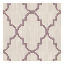 Lavender Large Morrocan Trellis Sateen Fabric - Large purple quatrefoil trellis on striated oatmeal gray sateen. A serene & elegant addition to classic decorRecover your chair. Upholster a wall. Create a framed piece of art. Sew your own home accent. Whatever your decorating project, Loom's gorgeous, designer fabrics by the yard are up to the challenge!