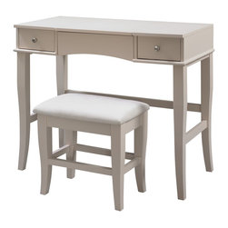 Linon Home Decor - Linon Home Decor Jackson Vanity Set X-U-DK-10-MRC73085 - The Cream Jackson Vanity Set is perfect for providing storage and grooming space in a large bathroom or bedroom. The spacious top features a flip top that has a hidden mirror and open storage area. Two storage drawers are accented with small round pulls and provide ample hidden storage space.  The cream finish and sleek design are ideal for any decor style.