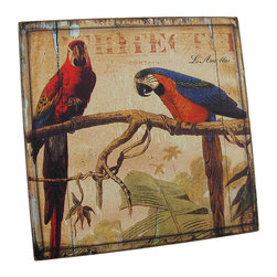 Weathered Look Wooden Macaw Parrot Wall Plaque - This square, wooden wall plaque features 2 colorful macaws, relaxing in paradise. It measures 10 inches tall, 10 inches wide, 1/2 inch thick, has an overall weathered appearance, and mounts to the wall with a single nail or screw. It is a wonderful accent to any room with a tropical theme, and looks great in home bars and restaurants.