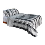 Blancho Bedding - [Black and White Floral Vine] Cotton 3PC Patchwork Quilt Set (Full/Queen Size) - Set includes a quilt and two quilted shams. Shell and fill are cotton. For convenience, all bedding components are machine washable on cold in the gentle cycle and can be dried on low heat and will last you years. Intricate vermicelli quilting provides a rich surface texture. This vermicelli-quilted quilt set will refresh your bedroom decor instantly, create a cozy and inviting atmosphere and is sure to transform the look of your bedroom or guest room. Dimensions: Full/Queen quilt: 90 inches x 98 inches. Standard sham: 20 inches x 26 inches.