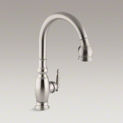 KOHLER - KOHLER Vinnata(R) single-hole or three-hole kitchen sink faucet with pull-down 1 - The traditional design and user-friendly features of this Vinnata kitchen sink faucet make it an attractive, hard-working addition to the kitchen. An elegant gooseneck swing spout reaches over your tallest pots. The pull-down sprayhead operates with the p