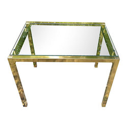 n/a - Consigned Milo Baughman Style Brass Accent Table w/Floating Glass - Handsome brass toned side table featuring a floating glass top. Fab 70's glam appeal. Very good condition, no chips or cracks in the glass.