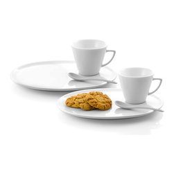 Danya B - 6 Pc Porcelain Dessert Set - Set includes: 2 cups, 2 oval plates, 2 teaspoons. Packed in attractive color gift box. Service for: 2. Cup dimensions: 3 in. high x 3.5 in.diameter. Saucer dimensions: 0.5 in. high x 10.5 in. W x 7.75 in. D. Spoon length: 5 in.. Care instructions: Dishwasher and microwave safe. Overall Dimensions: 10.5 in. L x 7.75 in. W x 3 in. H (4.6 lbs)