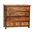 Nantucket 4 Drawer Dresser, Medium Brown - A rustic accent in the bedroom, the Nantucket 4-Drawer Dresser delivers ample wardrobe storage in eye-catching style. Hand-built from reclaimed hardwoods, this casual dresser has a sealed medium brown finish, accented with distressed paint tones that creates an old world, antiquated look. The strong, straight lines of the dresser make for a clean style that is enhanced with simple antiqued metal knobs on the drawers. Bring spacious storage and charming character to the bedroom with this enchanting dresser.