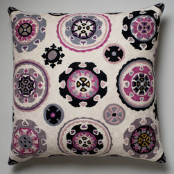 Tapestry Cushion - Niki Jones - Inspired by traditional Uzbek suzani designs, this cushion is hand-embroidered in Kashmir using the crewel technique for which this part of northern India is renowned.