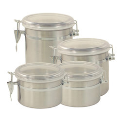 ExcelSteel - ExcelSteel Stainless Steel 4-piece Canister Set - A vital part of every kitchen,these stainless steel canisters keeps your flour,coffee,sugar and whatever else you need sealed airtight. The see-through plastic top allows convenient visibility of each canister.