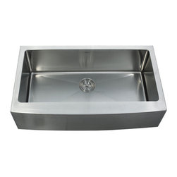 "Kraus - Kraus 36"" Farmhouse Apron Single Bowl 16 Gauge Stainless Steel Sink Combo Set - Add an elegant touch to your kitchen with a unique and versatile farmhouse apron sink from Kraus"