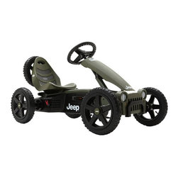 "Berg USA - Berg USA Jeep Adventure Pedal Go Kart Riding Toy - 24.40.10.00 - Shop for Tricycles and Riding Toys from Hayneedle.com! The BERG Jeep Adventure Riding Toy is a medium-sized kart that provides a full serving of adventure. This special Jeep model includes knobby tires a swing axle an adjustable seat a front grille and even a spare tire to get you through any adventure over any terrain. A simple pedal system allows pedaling forward backward or even just coasting. This kart is the perfect ride for an adventure for a four year old all the way up to a ""compact adult."" About BERG USAFounded in 2010 BERG USA is quickly becoming a recognized name in children's riding toys with their innovative designs and attention to safety that don't get in the way of their dedication to providing outdoor exercise for both kids and adults. BERG USA designs and offers a wide variety of high-quality pedal go-karts for home or commercial use ranging in size to comfortably accommodate ages 2 through adult as well as their versatile line of MOOV construction kits."