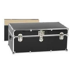 Artisans Domestic - Storage Trunk in Black - Vintage style. Handcrafted. Lined with cabinet grade birch. Removable storage tray. Wheels and leather strap handles for moving easily. Steel latches and a lock with two keys. Heavy gauge steel trim and corner pieces. Made in USA. 32 in. W x 18 in. D x 14 in. H (39 lbs.)The Artisans Domestic Heirloom Steamer Trunk can be used for toys, games, clothes, keepsakes, a memory box or even as a coffee table. Add your own college logos or decals or just let the modern retro design speak for itself.