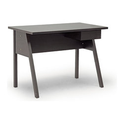 "Baxton Studio - Baxton Studio Frommes Dark Brown Modern Desk - A simple silhouette of a writing desk, the Frommes Modern Desk will help get the job done. From paying bills to browsing the internet, this small home office desk keeps it simple with dark brown faux wood grain paper veneer over an engineered wood frame. A small single drawer on the desk's right side is ideal for pens, notepads, and other small necessities.  The Frommes Contemporary Desk is made in Malaysia, requires assembly, and is easily cleaned with the swipe of a dry cloth.  Product dimension: 42""W x 23.62""D x 29.62""H, Top thickness: 1"" ,drawer :8.5""W x 11.12""D x 2.5""H"