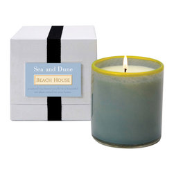 Sea and Dune / Beach House Candle - Vivid, complex art glass was hand-crafted to make up the transitional vessel that holds the Beach House Candle, a soy-based luxury home accent scented with the breezy, summery aroma called Sea and Dune. Mottled tide pool green rimmed in sunny yellow continues to enhance your decor with handmade style long after the lengthy burn time of this luxury scented candle is exhausted.