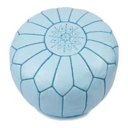 Moroccan Pouf, Blue Sky - Poufs are all the rage, and these are budget friendly! Available in a ton of different colors, these poufs would be a great accent in a child's bedroom or playroom.