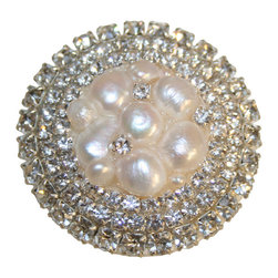 Country Cottage - Ivory Freshwater Pearl Cluster & Rhinestone Drawer Knob - Ivory Freshwater Pearl Cluster & Rhinestone Drawer Knob