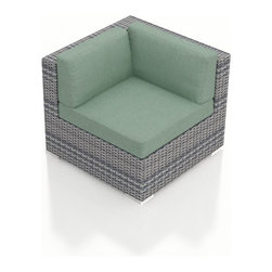 Harmonia Living - Urbana Wicker Modern Corner Chair, Weathered Stone Wicker, Spa Cushions - The Urbana Outdoor Wicker Corner Chair with Turquoise Sunbrella cushions (SKU HL-URBN-CS-SP) will lend a modern, relaxing touch to your outdoor space, turning it into a hub for entertaining and unwinding outside. The seat includes comfortable, fast-drying cushions covered in Sunbrella fabric, the industry leader in mildew- and fade-resistant outdoor fabrics. Each strand of the piece�s High-Density Polyethylene (HDPE) wicker is infused with a Weathered Stone color and UV protection, giving it long-lasting color despite the elements. The seat is reinforced, protecting the wicker from stretching and tearing with repeated use. Each piece also features a thick-gauged aluminum frame that is corrosion resistant, giving this piece fantastic structural integrity. Underneath the piece are plastic glides, allowing you to conveniently rearrange the set freely without worrying about scuffing your patio or deck.