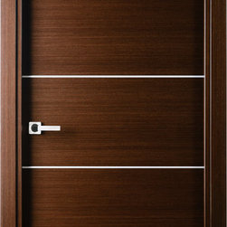Mia Interior Door Wenge - The Mia comes in a natural Italian wenge wood veneer in horizontal direction decorated with 4 silver strips. All doors are coated with natural wood veneer, which require no further treatment of the slab.