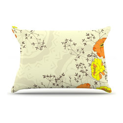"Kess InHouse - Nandita Singh ""Flowers and Twigs"" Tan Orange Pillow Case, King (36"" x 20"") - This pillowcase, is just as bunny soft as the Kess InHouse duvet. It's made of microfiber velvety fleece. This machine washable fleece pillow case is the perfect accent to any duvet. Be your Bed's Curator."