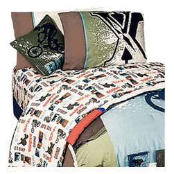 Jay Franco and Sons - 4 Pieces Xgames Pop Culture BMX Full Bedding Sheet Set - Features: