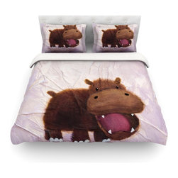 "Kess InHouse - Rachel Kokko ""The Happy Hippo"" Cotton Duvet Cover (Twin, 68"" x 88"") - Rest in comfort among this artistically inclined cotton blend duvet cover. This duvet cover is as light as a feather! You will be sure to be the envy of all of your guests with this aesthetically pleasing duvet. We highly recommend washing this as many times as you like as this material will not fade or lose comfort. Cotton blended, this duvet cover is not only beautiful and artistic but can be used year round with a duvet insert! Add our cotton shams to make your bed complete and looking stylish and artistic! Pillowcases not included."