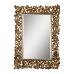 Antiqued Gold Leaf Mirror with Gray Glaze - Antiqued Gold Leaf Mirror with Gray Glaze
