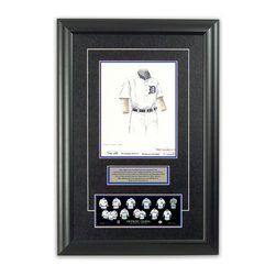 """Heritage Sports Art - Original art of the MLB 1907 Detroit Tigers uniform - This beautifully framed piece features an original piece of watercolor artwork glass-framed in an attractive two inch wide black resin frame with a double mat. The outer dimensions of the framed piece are approximately 17"""" wide x 24.5"""" high, although the exact size will vary according to the size of the original piece of art. At the core of the framed piece is the actual piece of original artwork as painted by the artist on textured 100% rag, water-marked watercolor paper. In many cases the original artwork has handwritten notes in pencil from the artist. Simply put, this is beautiful, one-of-a-kind artwork. The outer mat is a rich textured black acid-free mat with a decorative inset white v-groove, while the inner mat is a complimentary colored acid-free mat reflecting one of the team's primary colors. The image of this framed piece shows the mat color that we use (Medium Blue). Beneath the artwork is a silver plate with black text describing the original artwork. The text for this piece will read: This original, one-of-a-kind watercolor painting of the 1907 Detroit Tigers uniform is the original artwork that was used in the creation of this Detroit Tigers uniform evolution print and tens of thousands of other Detroit Tigers products that have been sold across North America. This original piece of art was painted by artist Bill Band for Maple Leaf Productions Ltd. Beneath the silver plate is a 3"""" x 9"""" reproduction of a well known, best-selling print that celebrates the history of the team. The print beautifully illustrates the chronological evolution of the team's uniform and shows you how the original art was used in the creation of this print. If you look closely, you will see that the print features the actual artwork being offered for sale. The piece is framed with an extremely high quality framing glass. We have used this glass style for many years with excellent results. We package ev"""