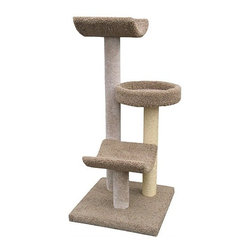 "Molly and Friends - 54"" Bed and Cradle Cat Tree - You like to have fun, so why not give your cat a place where they can have hours of fun and excitement? The 3-Tier Scratching Post with Bed and 2 Cradles have everything your cat could ever need. Perfect for scratching and clawing or taking a cat nap, with this scratching post you will always know where you find your cat. Create a unique look by mixing and matching the colors of the parts and posts. Features: -4'' solid untreated heart of pine core posts.-Parts include 2 cradles and a bed.-Guaranteed not to tip, strong enough for multiple cats.-Includes one 2 foot section of wrapped sisal rope on one post.-Separate carpet color for parts and poles.-Distressed: No.-Country of Manufacture: United States.Dimensions: -Dimensions: 54'' H x 24'' W x 24'' D, 75 lbs.-Overall Height - Top to Bottom: 54.-Overall Width - Side to Side: 54.-Overall Depth - Front to Back: 24.-Overall Product Weight: 75 lbs."