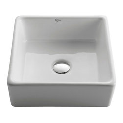 Kraus - Kraus KCV-120 White Square Ceramic Sink, Without Pop-Up Drain, 5.2 X 15.2 X 15.2 - Add an elegant touch to your bathroom with a Kraus ceramic washbasin