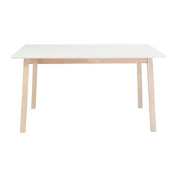 "Eurostyle - Montana Dining Table 36"" X 55"" - White/Nat - Matte white top"
