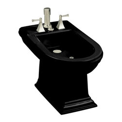 KOHLER - KOHLER K-4886-7 Memoirs Bidet Plumbed for Vertical Spray Bidet Faucet - KOHLER K-4886-7 Memoirs Bidet Plumbed for Vertical Spray Bidet Faucet in Black