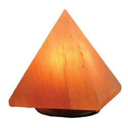 Oriental Furniture - Himalayan Salt Lamp - Pyramid - This unique natural salt lamp is hand carved from crystalline salt formations found in the Himalayan Mountains. The salt lends its natural color to the light emitted from the inner light bulb, casting a soft, ambient glow around the room. Many people also believe in the therapeutic value of salt lamps which, when lit, release negative ions that are thought to cleanse the air of impurities.