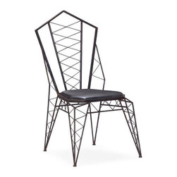 ZUO - Heavy Metal Chair - Like sitting in a throne inspired by the Eiffel Tower. The Heavy Metal Chair certainly makes a statement. Made of metal and leatherette in rustic black.