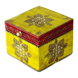 """MarktSq - Wooden Hand Painted Jewelry Box in Yellow and Dark Red - Use this striking box to organize your dresser top or to store jewelry and other trinkets. This hand painted box has a distressed finish and a brass pull and features an intricate pattern in silver that adds to it's elegance. The approximate dimensions are L 4.6"""" x W 4.6"""" x H 3.8""""."""