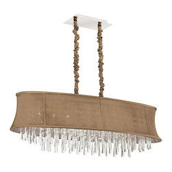 Dainolite - 8 Light Oval Crystal Chandelier, Oval Latte Bell Shade - -Main Body Material: Fabric