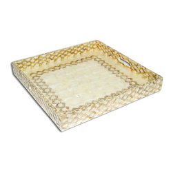 Tray - Gold Knots/Ivory - With patterning that resembles a honeycomb and rich, honey colored capiz, the Gold Knots tray can be used for a host of things including libations for guests or potions for the bath. This elegantly versatile tray shimmers and reflects light beautifully and will be a staple in your favorite home accessories.