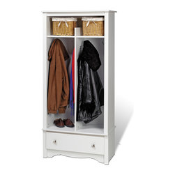 Prepac Hall Tree Organizer in White - Designed for any room in your home, this hall tree keeps all of your essentials close at hand.