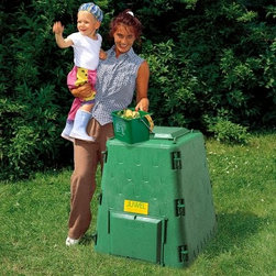 AeroQuick 77 Gallon Recycled Plastic Compost Bin - Additional features Conical form for better decomp and rapid volume reduction Features a revolutionary new airflow system 77 gallon capacity High-quality recycled plastic is UV-resistant Extra large hinged lid protects against wind Features big hatches on 2 sides for easy access 3-yr. warranty against manufacturer defects The AeroQuick 77 Gallon Recycled Plastic Compost Bin is full of features you won't find on just any other composter. This compost bin features special aeration technology with integrated air ducts that allow for quicker and odorless composting. Microbubbles in the UV-resistant recycling panels provide additional thermal effect. There are large hatches for easy access to your compost and an included ground grate to ensure pests don't get in.
