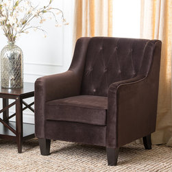 Abbyson Living - Abbyson Living Hamilton Dark Brown Fabric Armchair - Enjoy this luxurious fabric Armchair for years to come. This chair features a solid frame with high quality microsuede fabric.