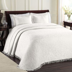 Lamont Home - Lamont Home All Over Brocade Standard Pillow Sham in White - Create a sophisticated bedding ensemble with this All Over Brocade standard sham. It features the same beautiful brocade pattern and fringed edging as the bedspread.