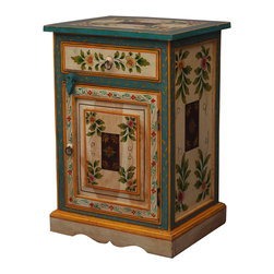 Hand Painted Floral Solid Wood Night Stand End Table - Bring the beauty of the garden inside with our Hand Painted Floral End Table.