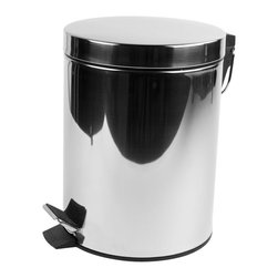 Geesa - Chrome Free Standing Round Bathroom Waste Bin With Pedal - Contemporary design free standing 5 liter round waste basket with pedal and cover.