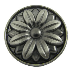 Stone Mill - Stone Mill Hardware Mayflower Weathered Nickel Cabinet Knobs (Pack of 5) - Make an old cupboard look like a brand new piece of furniture with these charming nickel cabinet knobs. The weathered finish will look amazing in rustic decor, and the carved floral pattern on the face of the knobs add a bit of exquisite detail.