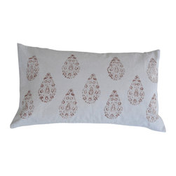 Alamwar - Henna Taupe Decorative Pillow - For an eclectic look that won't be over the top you can't go wrong with a henna pattern. The subtle taupe design against a crisp white backdrop makes an elegant statement. Top off your pillow collection with this beautifully ethnic throw.